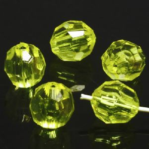 Beads, Imitation Crystal beads, Acrylic, Yellow, Faceted spherical, Diameter 8mm, 5g, 25 Beads, (SLZ0385)